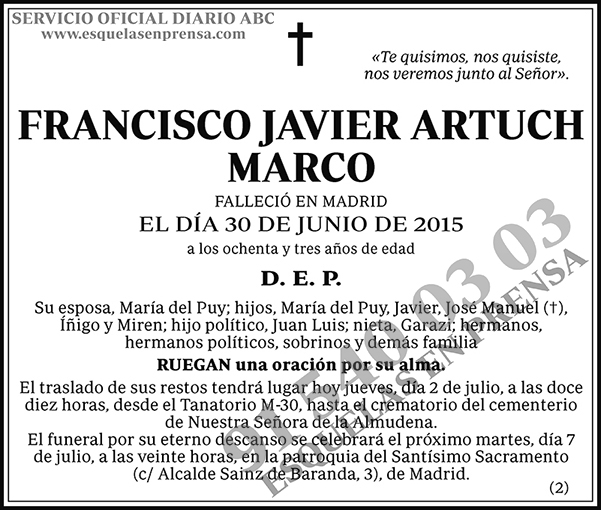 Francisco Javier Artuch Marco
